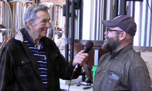 Olin Fimreite interviewing Northwoods Brew Pub founder and owner Jerry Bechard
