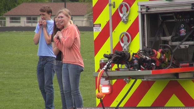 Merrill Area High School student actors in the show, Mock Crash